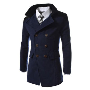 Men Jacket Warm Winter Double Breasted Trench Long Outwear Button Smart Overcoateticdress-eticdress