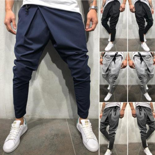 Men Long Casual Irregular Pants Gym Slim Trousers 2019 New Solid Runningeticdress-eticdress