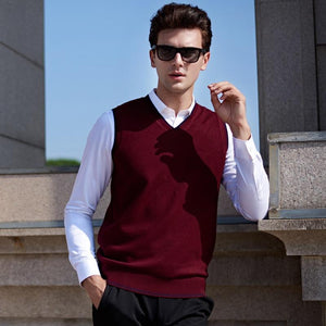 Chalecos Hombre Invierno 2018 Classic V-neck Collar Sleeveless Male Sweater Vest Knitweareticdress-eticdress