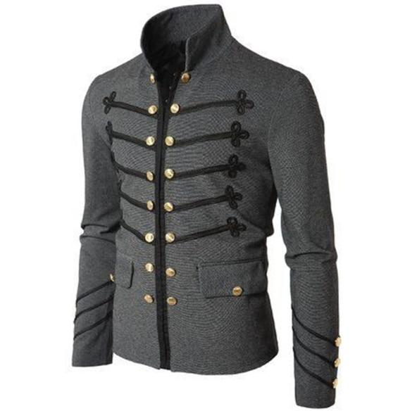 Casual Men Outerwear Plus Size Gothic Military Parade Jacket Tunic Winter Autumneticdress-eticdress