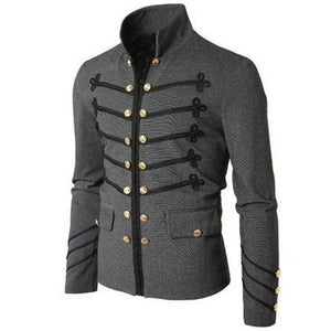 Men Vintage Military Jacket Gothic Military Parade Jacket Embroidered Buttons Solid Coloreticdress-eticdress