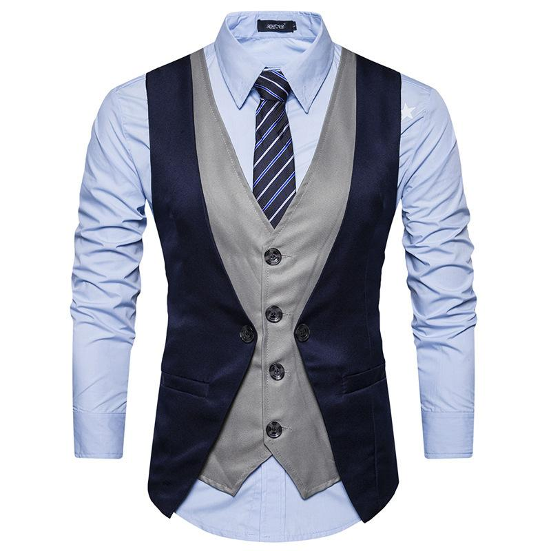 Mens Suit Vest 2019 New Sleeveless Fashion Trend Male Fake Two Pieceeticdress-eticdress