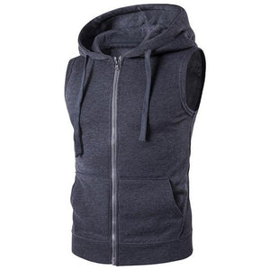 Brand Vest Men Fashion Solid Sleeveless Hoodies Cardigans Jacket Autumn Spring Zippereticdress-eticdress