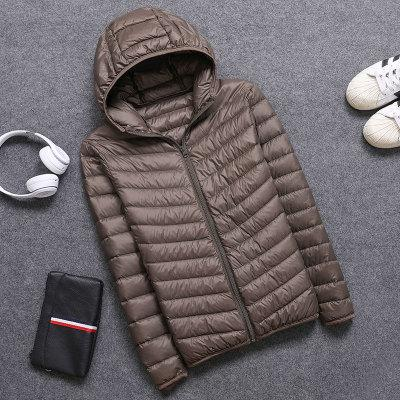 Casual men's down jacket Autumn Winter mens thin light Standing collar&hooded Whiteeticdress-eticdress