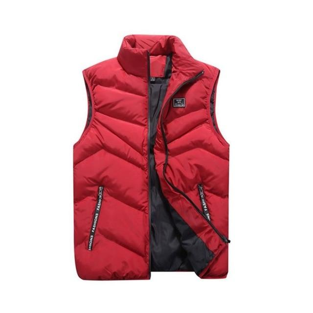 4XL Men\'s Jacket Sleeveless Vest Winter Fashion Casual Coats Male Cotton-Padded Menseticdress-eticdress
