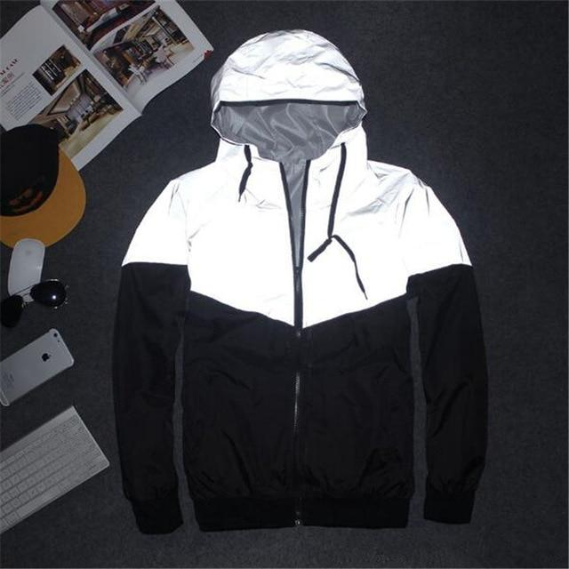 Men Jacket Spring Autumn Reflective 3M light hoodies Jacket movement Hip Hopeticdress-eticdress