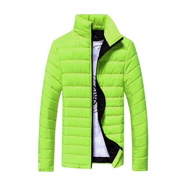 Jacket Men Boys winter Warm Stand Collar solid Slim Winter Zip Coateticdress-eticdress