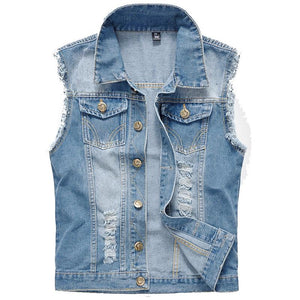 Denim Vest Men Sleeveless Jackets Washed Jeans colete masculino Waistcoat For Menseticdress-eticdress