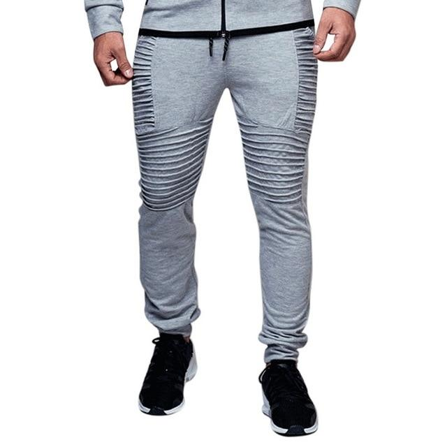 Plus Size 4XL Men Pants Autumn Fashion Solid Pleated Joggers Sweaterpantseticdress-eticdress