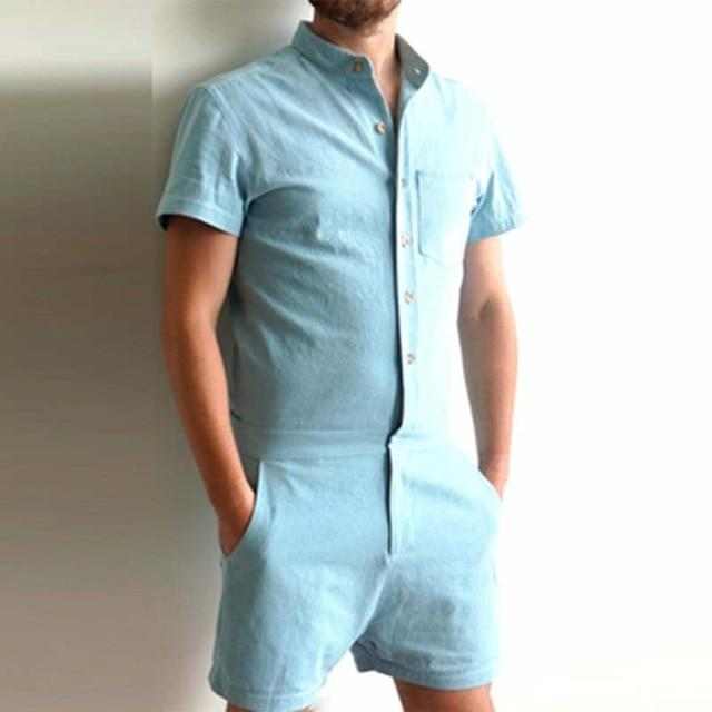 Men rompers autumn short sleeve tops shirt cargo overalls Male short pantseticdress-eticdress