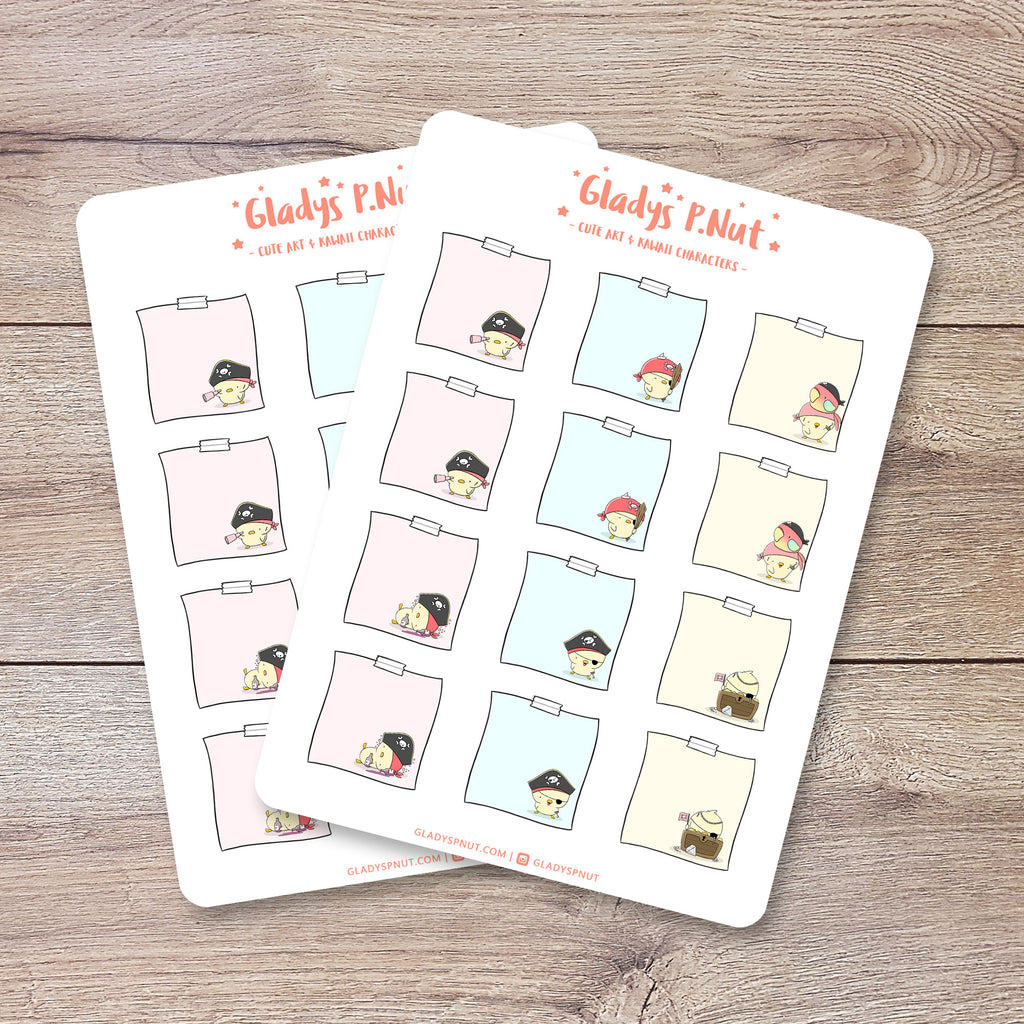 Pirate Chicks Sticky Notes | Sticker Sheet