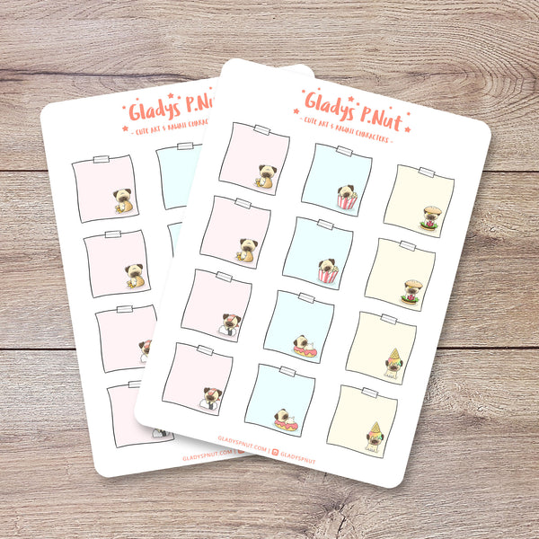 Hungy Pugs Sticky Notes | Sticker Sheet