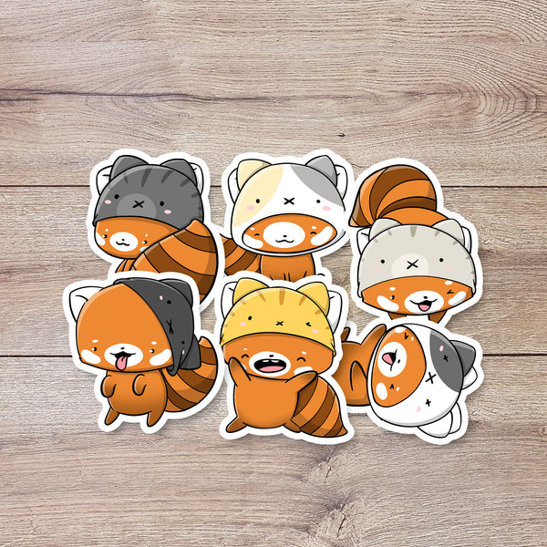 Red Pandas with Hats | Stickers