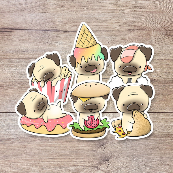 Pugs with food | Stickers
