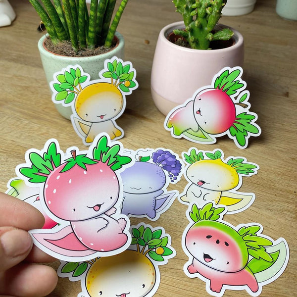 Fruit Axolotls | Stickers