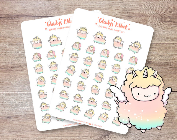Llamacorns | Sticker Sheet - Gladys P. Nut
