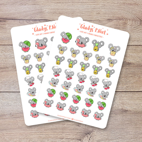 Koalas in summer | Sticker Sheet