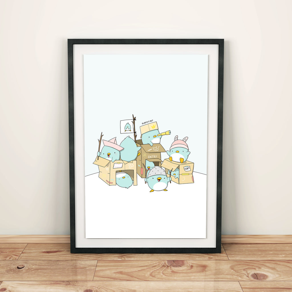 Penguins in their fort | Print