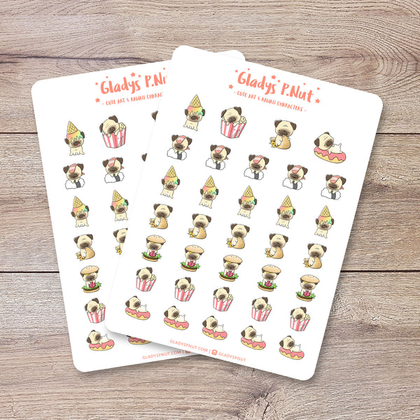 Pugs eating food | Sticker Sheet