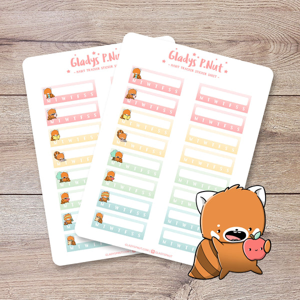 Red Panda Habit Trackers | Sticker Sheet