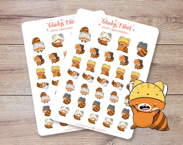 Red Panda as Cats| Sticker Sheets