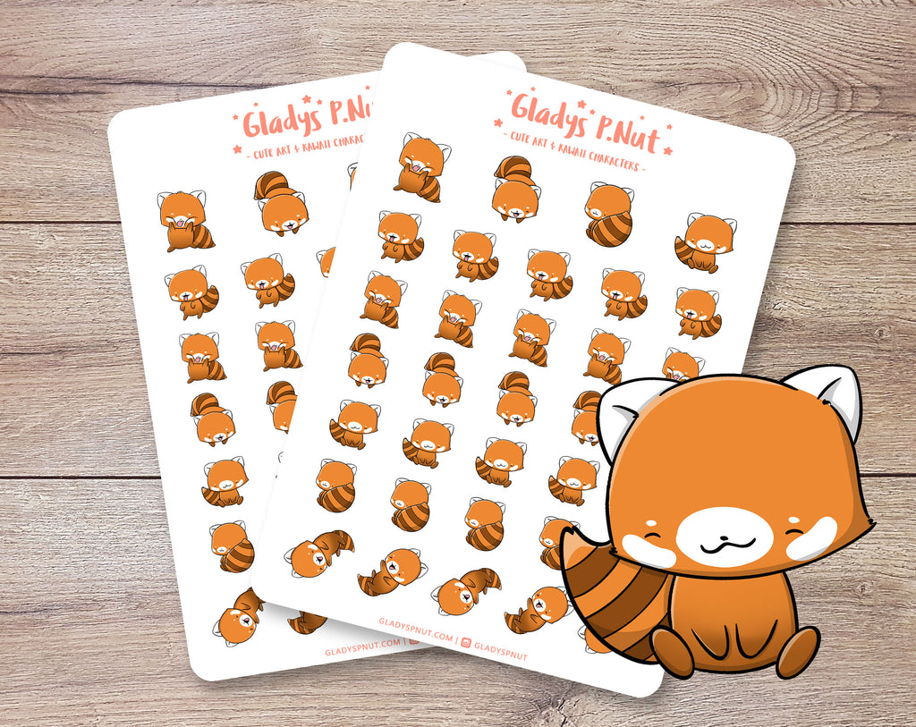 Cute Red Pandas | Sticker Sheets - Gladys P. Nut