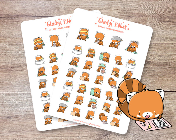 Red Pandas Daily Tasks | Sticker Sheets