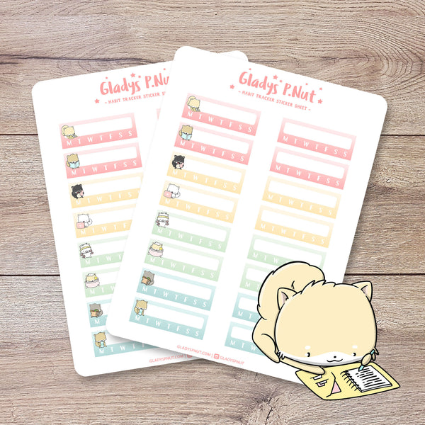 Shibas Habit Trackers | Sticker Sheet