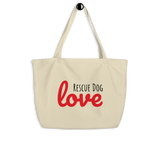 Rescue Dog Love Large organic tote bag