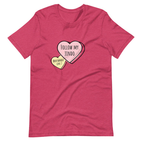 Follow My Jindo Candy Hearts Personalized Tee