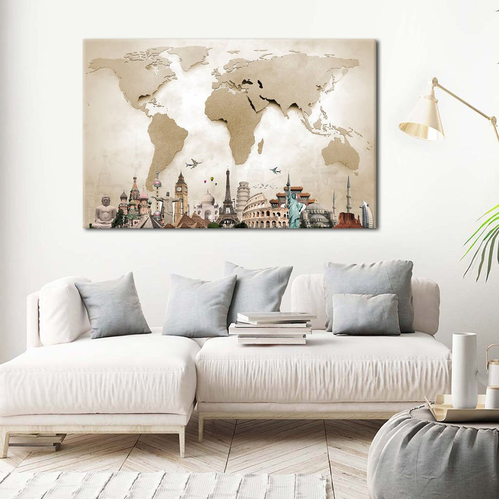 World Map Masterpiece Multi Panel Canvas Wall Art