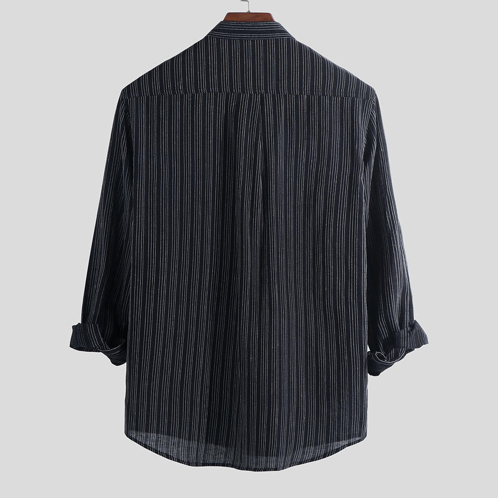 Mens 100% Cotton Striped Breathable Pocket Design Long Sleeve Casual Shirts - Black L