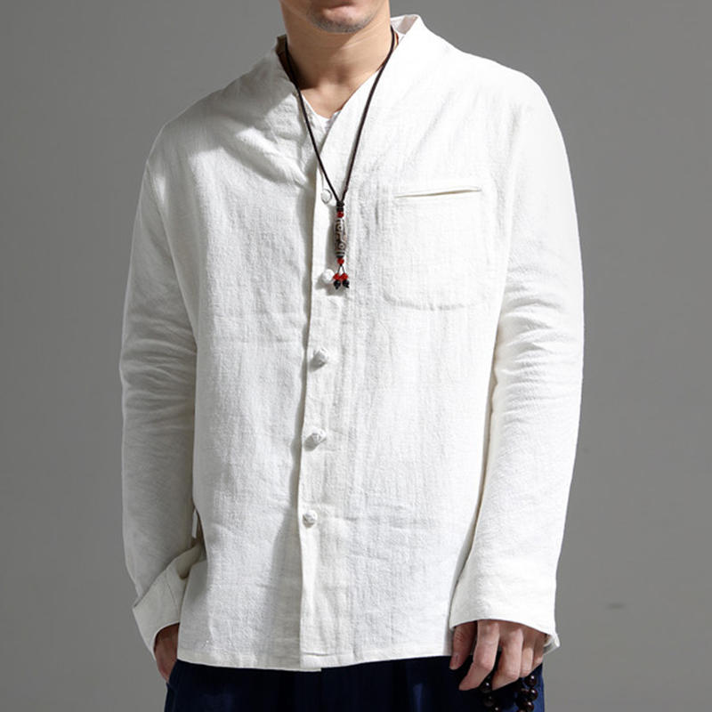 Mens Vintage Pocket Stand Collar Long Sleeve Casual Shirts - White 4XL