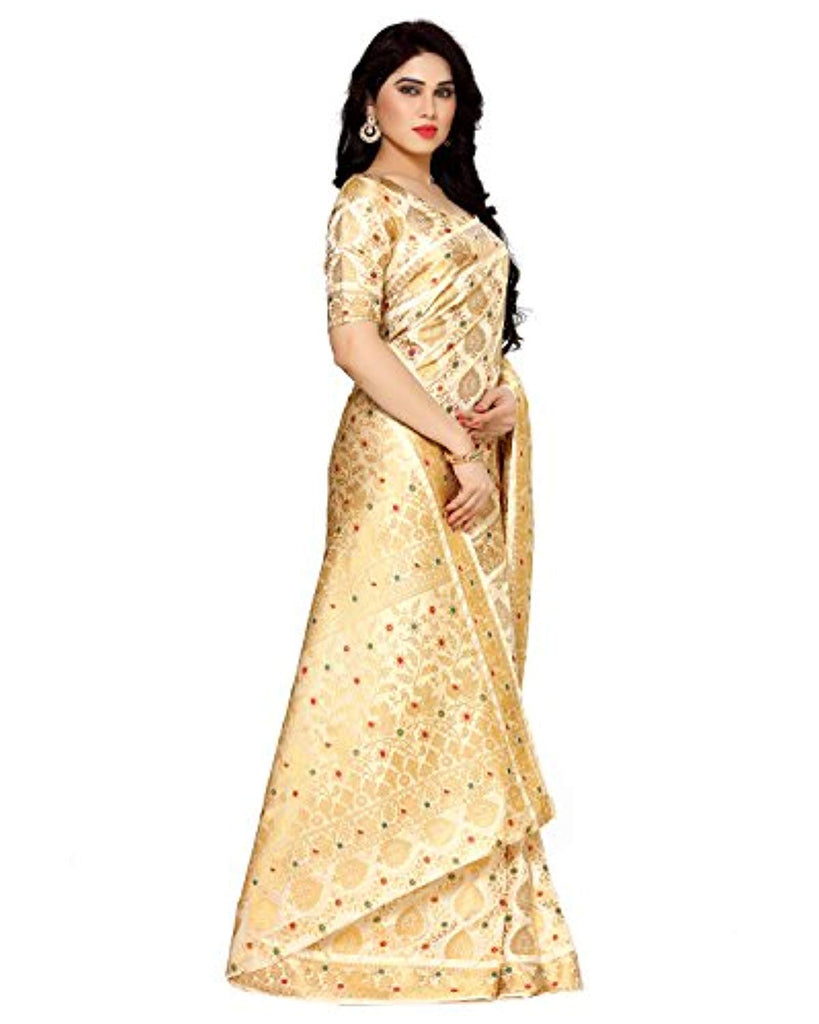 Women's Artificial Silk Saree Kanjivaram Style (4123-65-SD-HWT) Color: Beige