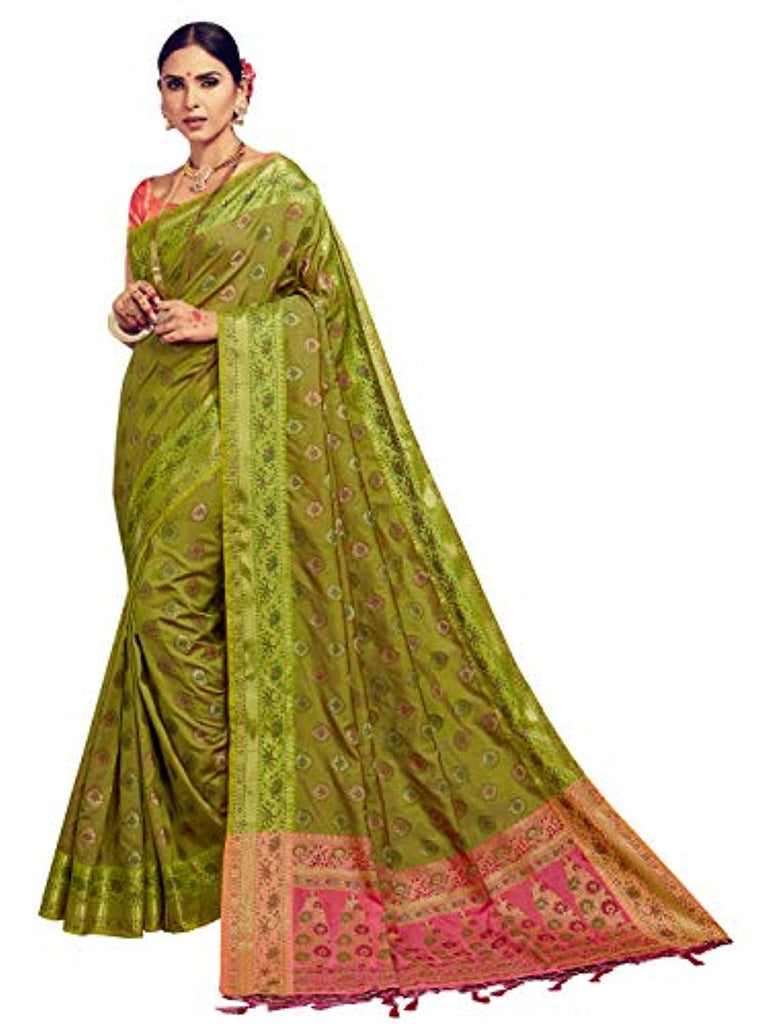 Sarees for Women Banarasi Kanjivaram Art Silk Woven Saree l Indian Ethnic Wedding Gift Sari with Unstitched Blouse