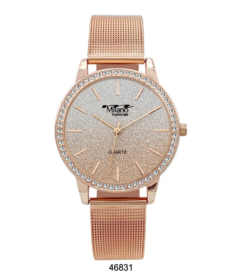 M Milano Expressions Rose Gold Mesh Band Watch with Rose Gold Case Rose Gold Glitter Dial