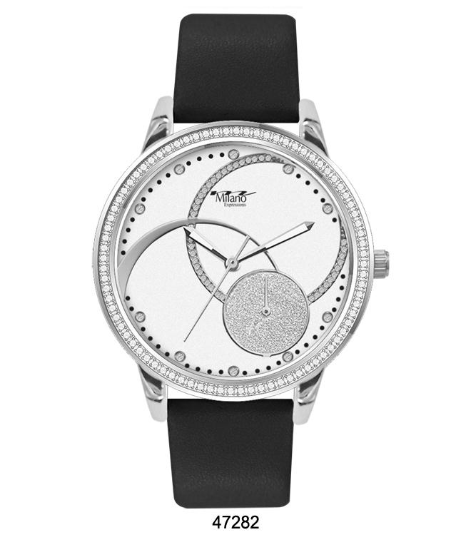 M Milano Expressions Black Silicon Band Watch with Silver Case and White Abstract Dial with Sillver Accents