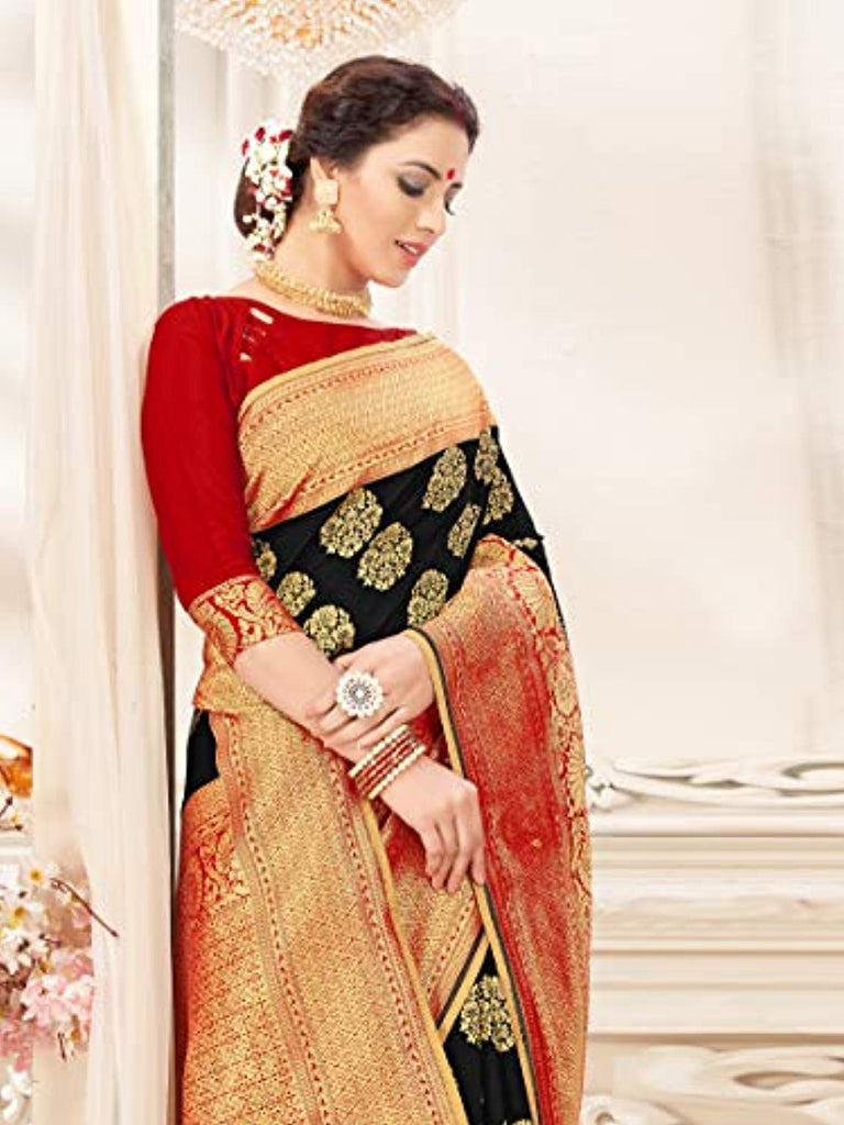 Sarees for Women Banarasi Art Silk Woven Saree l Indian Wedding Traditional Wear Sari and Blouse