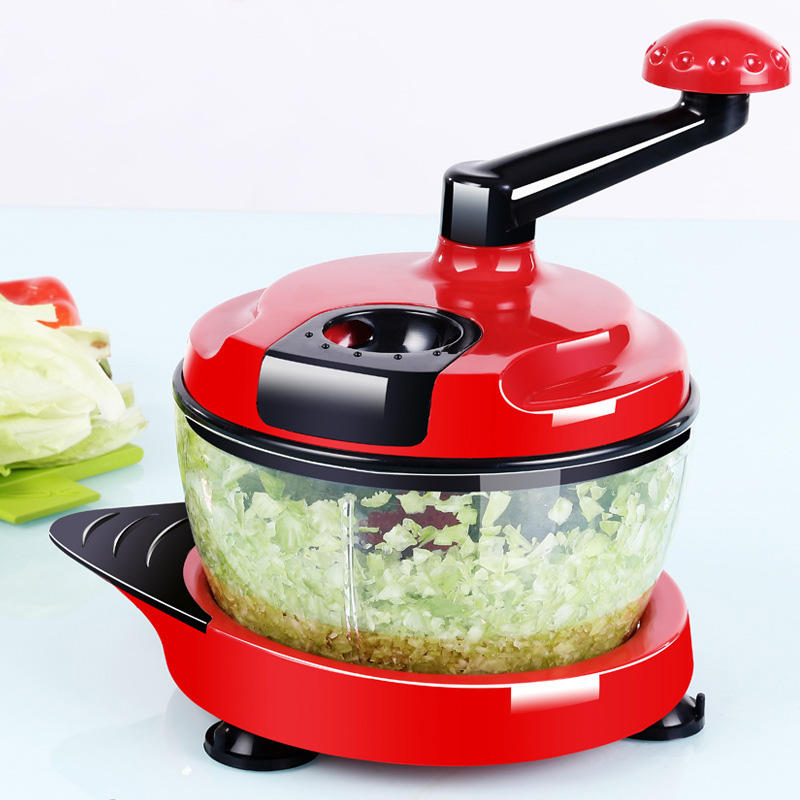 KCASA KC-MFP1 Multifunction Food Processor Kitchen Manual Food Chopper Mixer Salad Maker - Red