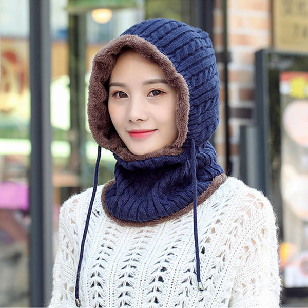 Women Men Thick Knitted Warm Beanie Cap With Earmuffs Hooded Scarf Hooded Neck Cap - Brown
