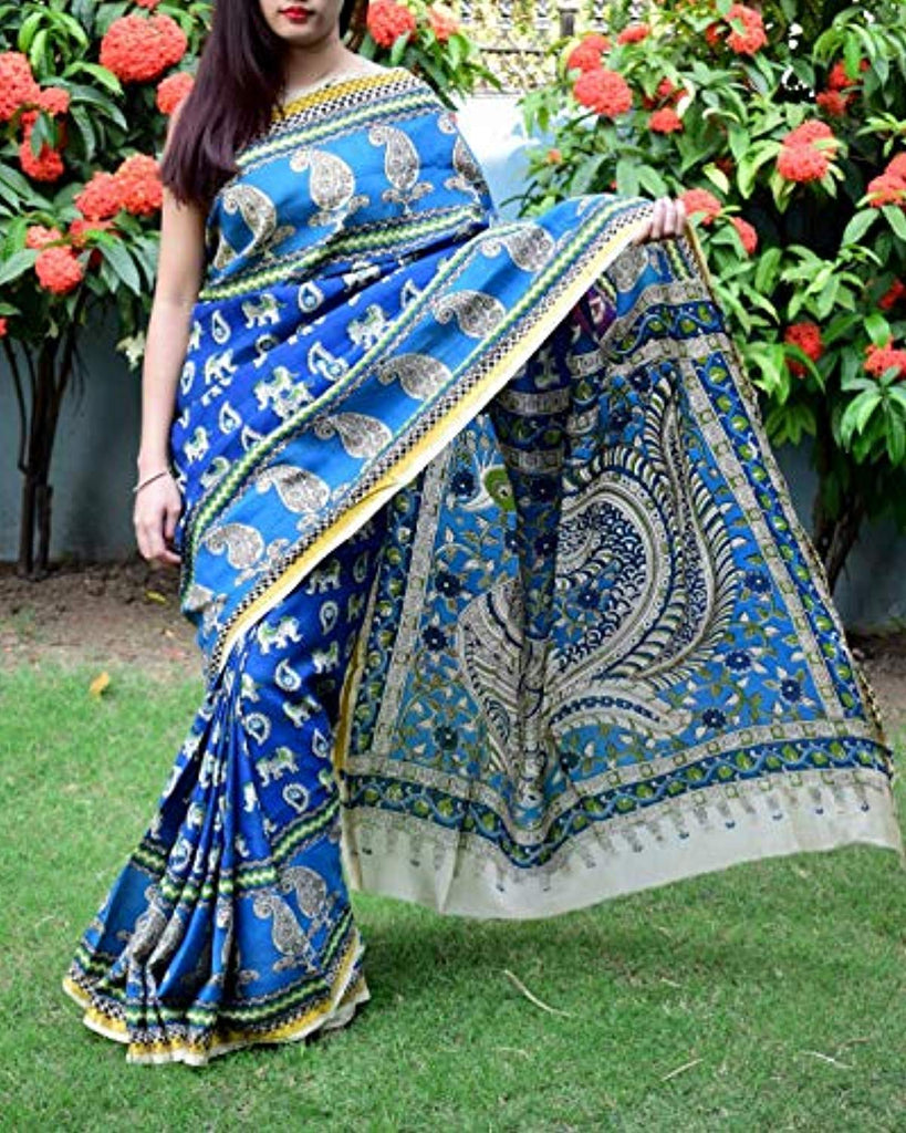 Silk Saree with Zari Border -Blue