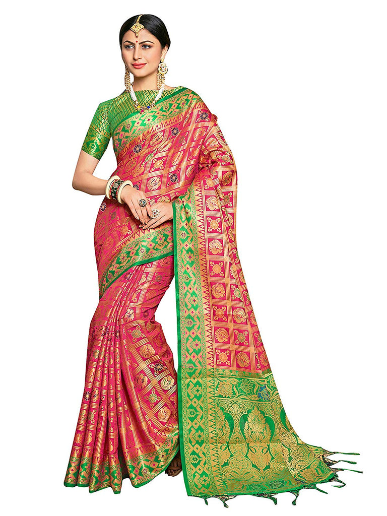 Sarees for Women Banarasi Patola Art Silk Woven Saree l Indian Ethnic Wedding Gift Sari with Unstitched Blouse