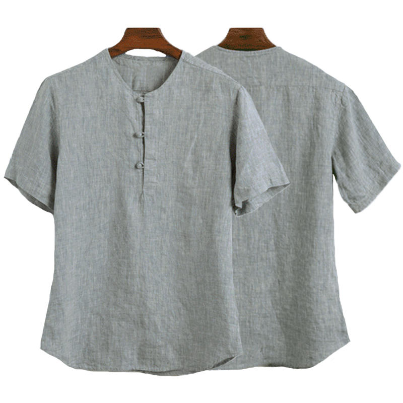 Mens Loose Casual Comfy Cotton Breathable Chinese Style Vintag Short Sleeve T-shirts - Grey 4XL