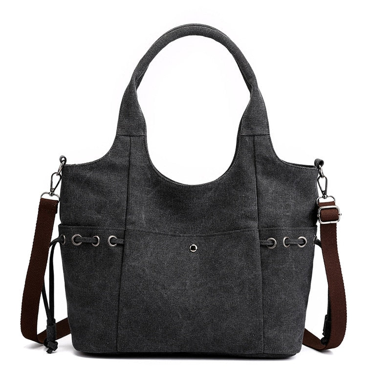 Fashion Canvas Women Tote Bag Large Capacity Casual Women Shoulder Bag Brand Designer High Quality Ladies Handbag Zipper Solid