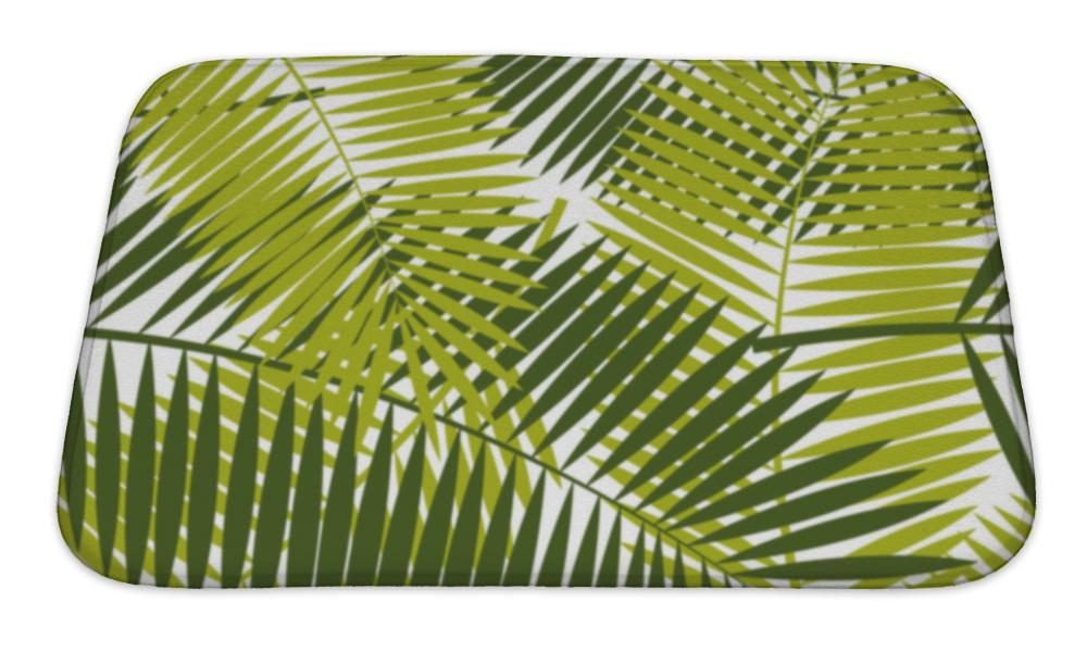 Bath Mat, Palm Leaf Pattern Illustration