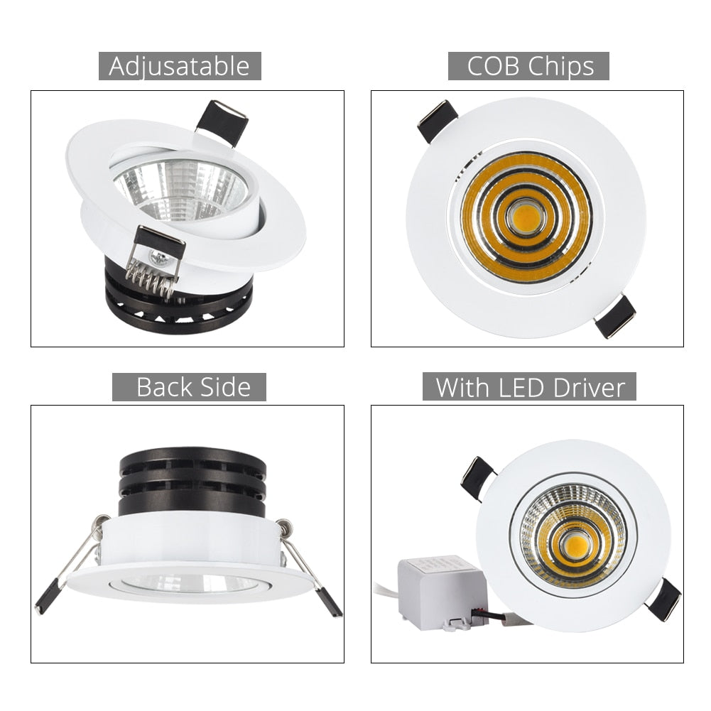 3w 5w 10w cob led downlight dimmable recessed lamp