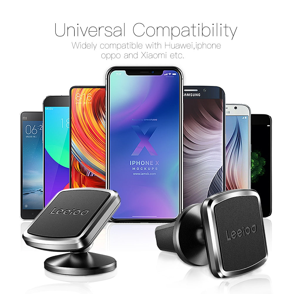 LEEIOO Magnetic Car Phone Holder For iPhone X Samsung S9 Magnet Mount Car Holder For Phone in Car Cell Mobile Phone Holder Stand