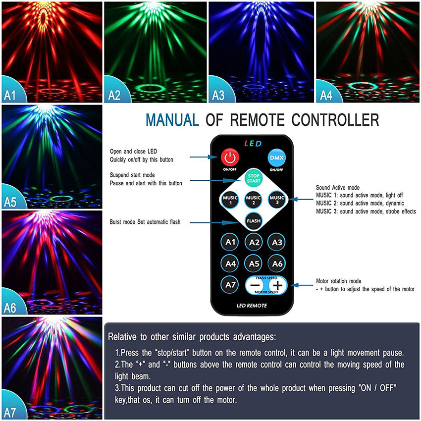 Sound Activated Rotating Disco Party Lights