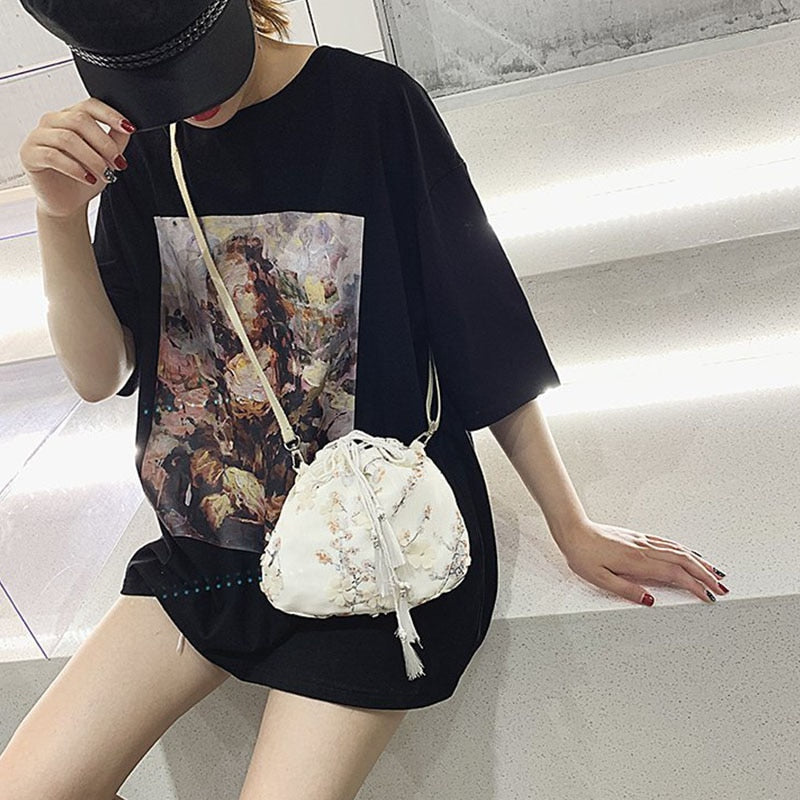 Women Soft Flower Print String Shoulder Bag Fashion 2019 Tassel Drawstring Bags Embroidered School Bags Folding Shopping Bags