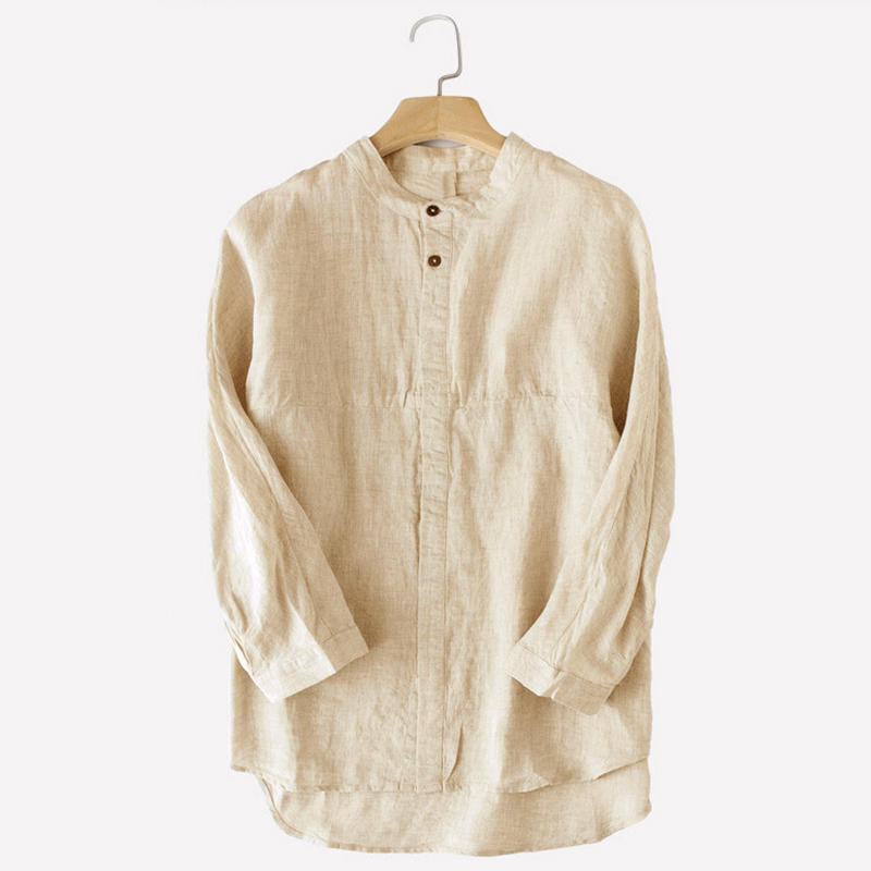 Mens Casual Comfy Cotton Vintage Chinese Style Hidden Placket Solid Color Plus Size Shirts - white L